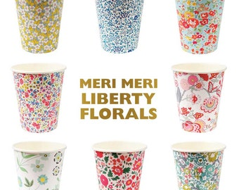 Paper Cups, Meri Meri Liberty Cups (set of 12), Floral Bridal Shower, Floral Party Cup, Liberty London Floral Cup, Baby Shower, Wedding Cups
