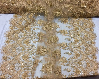 Stunning gold shimmering flower Embroider And Beaded On A mesh lace -yard