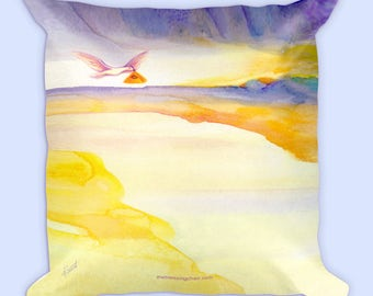 PAUSE Pillow by deb barrett, Intention, Manifestation, Meditation, Reiki, White Dove, Sun Rise, Original Watercolor, Back has no words