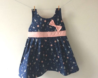 Space rocket dress, outer space dress, outer space print, outer space gift, space rocket print, space rocket gift, girls space dress
