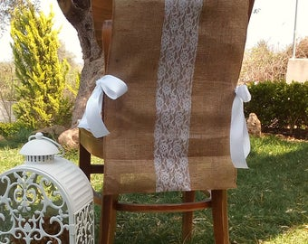 Burlap Chair Sash - Lace Chair Swag - Burlap Chair Cover - Burlap Chair Tie - Wedding Chair Sash - Rustic Wedding Chair Sash - Set of 8