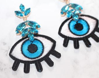 Evil eye all seeing eye embroidery earrings