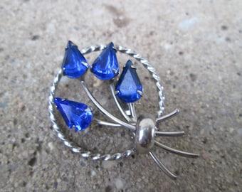 Vintage Royal Blue and Silver Crystal Circle Brooch