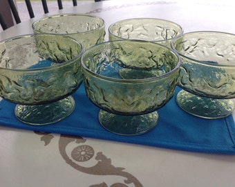 Anchor Hocking Vintage Green Footed Ice-Cream Dessert Dishes