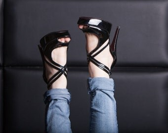 Patent leather high heels / Open toe sandals / Black handmade luxury women shoes