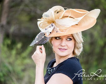 Hat Royal Ascot has ball Hat Kentucky-Derby horse racing has couture millinery Sinamay wedding Fascinator U1