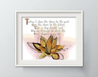 Lotus Wall Decor, Lotus Painting, Lotus Wall Art, Inspirational Print, Lotus Art Orange, New Beginning Print, Lotus Flower Bloom P1098A