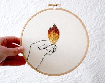 Embroidery Hoop Art || Autumn Leaf