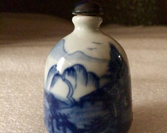 Vintage Hand Painted Asian Country Scene Snuff Bottle