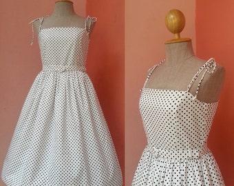 Polka Dot Dress Party Dress Womens Summer Dress 50s Dress Sundress 1950s Dress Pin Up Dress Rockabilly Dress White Cotton Dress Swing Dress