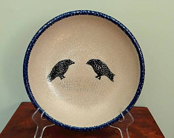 Monroe Salt Works Crow and Corn Pottery Serving Bowl