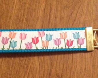 Tulips Spring Flower Key Chain Zipper Pull Wristlet
