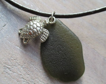 "FREE SHIPPING = Olive Green Sea Glass Leather Necklace with turtle charm ""Unique"""
