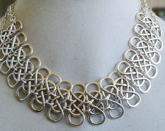 "Silver Double Infinity Statement Necklace - 18"" (45.72cm) - NCK072"