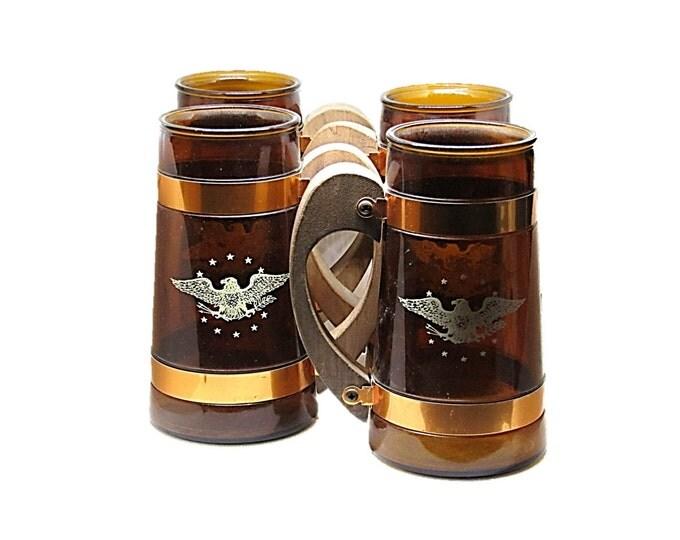 Vintage Siesta Ware Mugs with Eagle   Amber Glass Root Beer Mug   Military Patriotic Decor