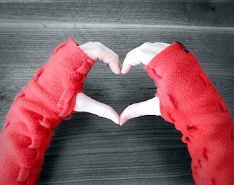 Fingerless Gloves, Handmade Wrist Warmers, Adjustable Length Arm Warmers, Mitts, Weave Hand Warmers in Fleece