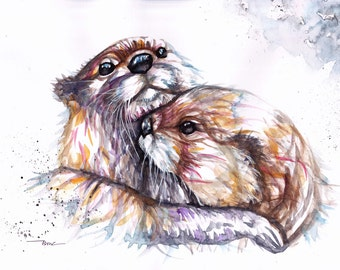 Original Watercolour Otters Print by Artist Be Coventry Wildlife Animal Art