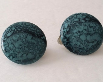 Beautiful Vintage Silver Tone Blue Button Clip On Earrings. NEW! Old Stock.