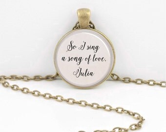 Julia Beatles Lyrics Music  Music Lover  Gift Pendant Necklace Inspiration Jewelry