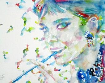 AUDREY HEPBURN - original watercolor portrait - one of a kind!