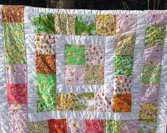 Baby Girl Quilt / Lap Quilt /Grow With Me Quilt