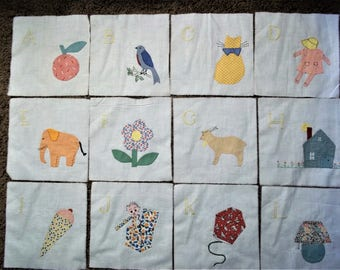Vintage Alphabet Quilt Blocks - 1933 - A Through Z - Appliqued and Embroidered