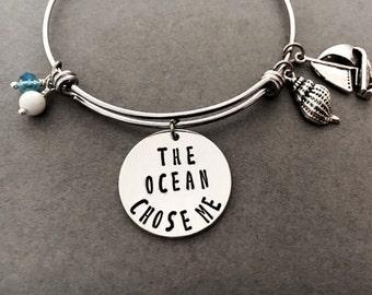 Moana bangle/the ocean chose me/stainless steel bangle/bracelet/Charm Bangle/Accessories/Bangles/Aloha/ocean