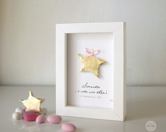 Baby name and date personalized gift - gift birth baptism - sentence: è nata una stella! star framework - gold leaf - frame and glass