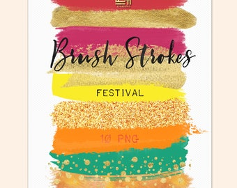 Tropical colors. Gold glitter. Brush Strokes Clip Art . Orange, pink, yellow, gold and glitter collection. Digital Design Resource. Branding
