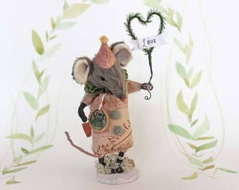 Primitive Folk Art OOAK Easter mouse art doll spun cotton ornament