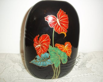 Mid Century 1970's Toyo Black Flat Oval Vase with Red Anthurium Andreaamun Hawaiian Flowers  Very Pretty