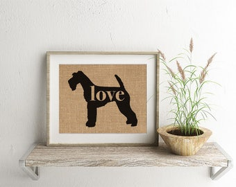 Airedale Terrier Love -  Wall Art Print on Burlap - Memorial Pet Loss Gift - Rustic Farmhouse Home Decor - More Breeds & Add Name (101p)