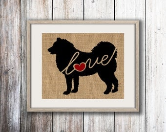 Alaskan Malamute Love - Burlap or Canvas Paper Dog Breed Wall Art Decor Print - Gift for Dog Lovers - Can Be Personalized w/ Name (101s)