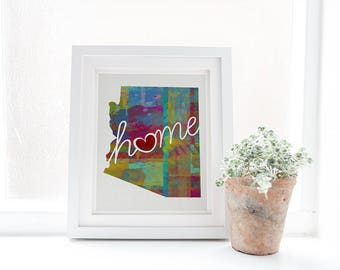 Arizona Love - AZ - A Colorful Watercolor Style Home Decor Wall Art Print & State Map Artwork - College, Moving, Engagement, and Shower Gift