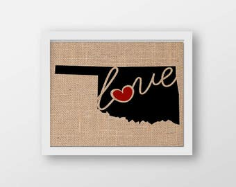 """Oklahoma (OK) """"Love"""" or """"Home"""" Burlap or Canvas Paper State Silhouette Wall Art Print / Home Decor (Free Shipping)"""