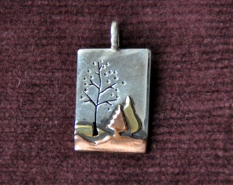 Handmade Mixed Metal Sterling Silver, Copper & Brass Spring Trees Landscape Pendant