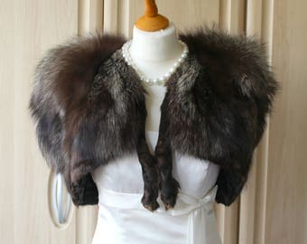 Vintage Real Silver Fox Fur Stole with Legs U2