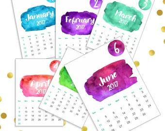 Printable Calendar 2017  Desk Calendar 2017   Watercolor Wall Calendar 2017  Instant Download  Digital Calendar