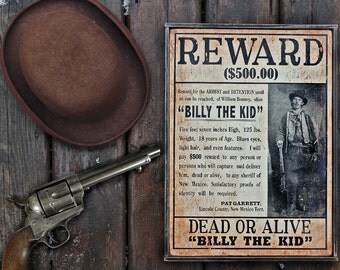 Vintage wooden sign 'WANTED ~ Billy the Kid' reproduction