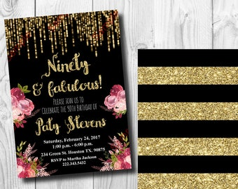 90th Birthday Invitation - Gold Glitter Invitation - Floral Invitation - Elegant Birthday Invitation