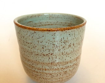 Mint green. Speckle. Hand thrown stoneware tea cup. Yunomi. In stock.