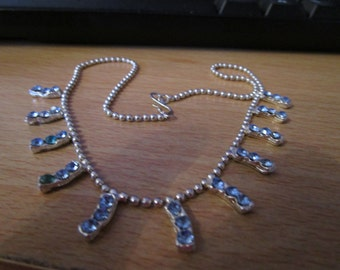 vintage ball chain choker necklace  11 droplets each has 3 blue stones in good condition 14.1/2""