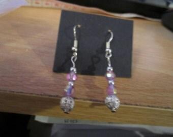 "vintage dangling 1.50""drop beautiful pink beads ending in silver filigree"