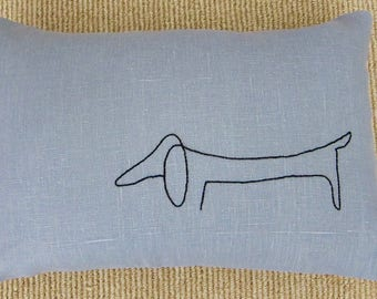 Hand-Embroidered Picasso Black Dachshund Dog on 100% Shadow Blue Linen Lumbar Pillow Cover - 12 x 18 Inches