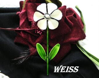 WEISS FLOWER BROOCH White Enamel Large 4+ Inches Green Stem Leaves Gold Tone