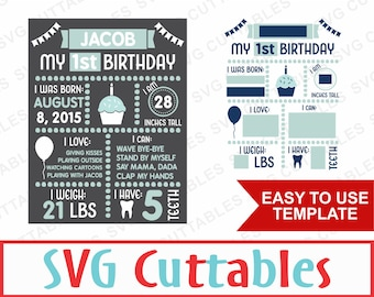 Birthday Board, svg, eps, dxf, png, First Birthday Plus older kids version, Digital Cut File