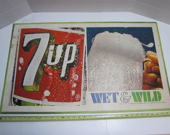 Vintage 7Up Wet and Wild 34x21 paperboard sign 1967 First Against Thirst B&S 67111 soda advertising double-sided