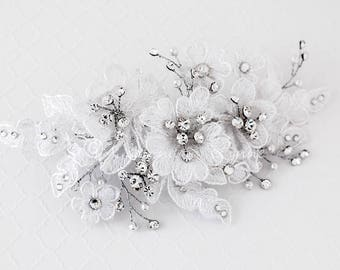 Bridal Hair Clip of White Lace Flowers and Leaves White Pearls and Rhinestones Spray in antiqued Silver Wire Wedding Accessories