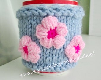 Cup Cover with flowers, Coffee Tea Mug ash gray Cover Cup Cozy Sleeve - Hand Knit cute grey-blue Cozy Coffee