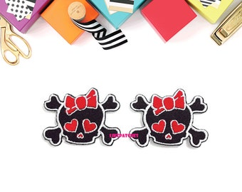 Set 2pcs. Sew / Iron On Patch Black Skull Head Red Heart Eyes and Bow Cross Bones Embroidered Applique Size 4.7cm.x3.6cm.